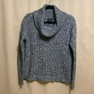 American Eagle cable knit cowl neck sweater with contrast stitching on sleeves